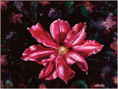 """""""Clematis Dream"""" Age 8 (oil on canvas 36"""" x 48) ...In the Japanese garden of our backyard I noticed one clematis flower that seemed to be floating in the air. The next morning I woke up from a strange dream, wrote it down on the window with a chalk and began painting the blossom. Much later I understood that the clematis flower in my dream represented love and trust....Love was created to create..."""