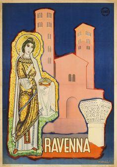 Vintage Travel Poster -Ravenna - Italy - by Barboli Gino - 1950.