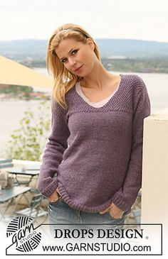"""123-3 Knitted jumper with yoke in moss st in """"Classic Alpaca"""" by DROPS design - free pattern"""