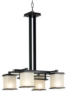 Craftsman style - dining room Kenroy Home Plateau Oil Rubbed Bronze Four Light Chandelier  Price: $386.88