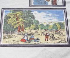 Currier and Ives Vintage Tablecloth  52 x 62  by RosebudsOriginals, $44.95