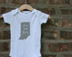 Tell the new baby in your life how you really feel :) And show your Indiana pride at the same time!  These onesies are by Carter and are very soft and true to size. Available in 3, 6, and 12 months - see last photo for size chart.  To ensure quick processing of your order please make sure to specify your onesie size in the message to seller at checkout.