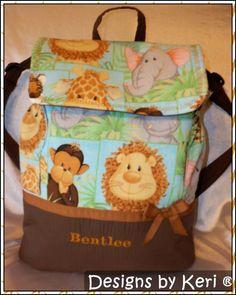 Large Jungle Babies back pack or diaper bag by designsbykeri4u, $63.99