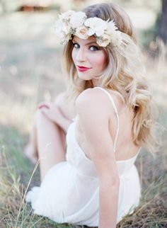 bridal portraits in a floral crown outside in a field