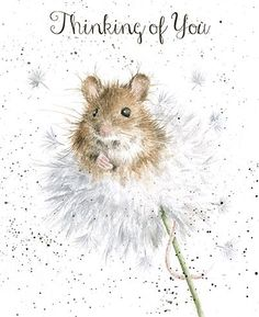 A beautiful thinking of you card with a gorgeous mouse and dandelion design.The caption reads: Thinking of You .The wonderful illustration is from a watercolour entitled Dandelion by Hannah Dale.The card is blank inside for your own message. Maus Illustration, Illustrations, Watercolor Animals, Watercolor Paintings, Watercolours, Animal Drawings, Art Drawings, Rick E, Marjolein Bastin
