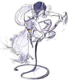 Final Fantasy V - Lenna Concept Art - Yoshitaka Amano