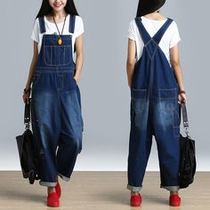 67757bcc5a8a Women s Casual Loose Jumpsuit Romper Denim Overall