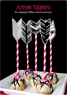 Printable arrow feathers to add to cake pops, straws, lollies and more!  Freebie with quite a few colour options.