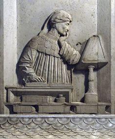 """Ravenna, Italy, tomba di Dante Alighieri: """"Dante in lettura"""", Pietro Lombardo - 1483"""