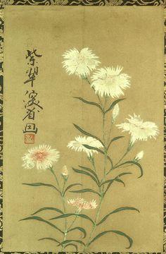 撫子図(尾形乾山筆)なでしこず(おがたけんざん)江戸時代 Nadeshiko. (Ogata Hayama and Ogata Kenzan). Japanese art. Edo period eighteenth century