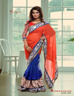 Blue Red Designer Saree - Sarees