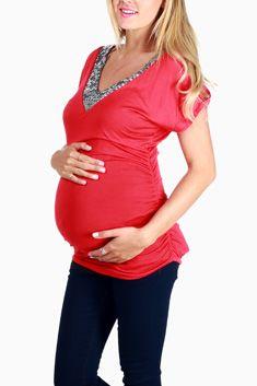 Red Sequin Neckline Maternity Top