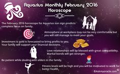 How will be the month of February 2016 for Aquarius zodiac sign ? Get Free Aquarius horoscope for February 2016 on love, relationships, money, career and more.
