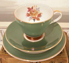green royal grafton china trio with floral by tillyandarthur