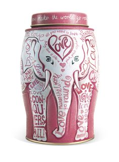 Williamson Tea - pink love elephant caddy containing English Breakfast Tea. £1 from every caddy is donated to Breast Cancer Campaign.  #charity #mothersday #tea