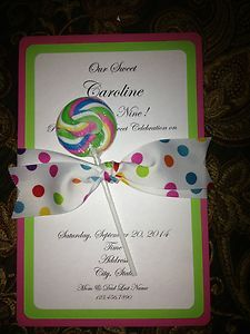 Sweet Candyland Birthday Party Invitations Swirl Lollipop
