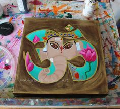 "Ganesha painting - Lord Ganesha - Ganesha wall art - Ganesha home decor - Elephant god painting - Hindu god - Spiritual art - 10x10"" Canvas"