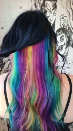 Vivid Hair Color, Hair Color Streaks, Pretty Hair Color, Bright Hair Colors, Hair Color Purple, Hair Dye Colors, Hair Color For Black Hair, Dark Hair, Hair Highlights