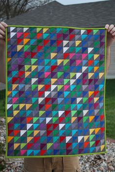 """The grey really makes these solids pop in this """"Hot Mess"""" quilt by Mary Claire Goodwin of Splendorfalls."""
