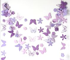 purple paper garland with flowers and butterflies by ksenchik30