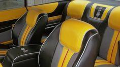 60 CHEVROLET IMPALA custom interior yellow black grey and red bucket seats piping Automotive Upholstery, Car Upholstery, Yellow Black, Black And Grey, Custom Center Console, Chevrolet Chevelle, Chevy, Yellow Interior, Luxury Cars