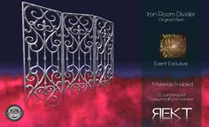 https://flic.kr/p/NFJHQ9 | REKT Iron Room Divider | 50% off at WLRP which opens November 4th at 1pm SLT ♥ maps.secondlife.com/secondlife/Riverhunt/111/137/23