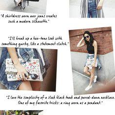 black crop top + white skirt + jean jacket + fun clutch + white tennis sneakers