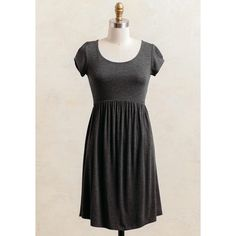 Ruche Hayden Place Babydoll Dress ($35) ❤ liked on Polyvore featuring dresses, charcoal, viscose dress, doll dress, shirred dress, ruched dress and charcoal grey dress