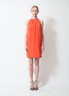 Céline Coral Silk Dress