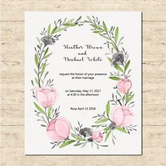 Cute wedding card with a floral frame Free Vector