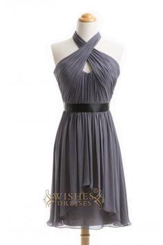 A-line Sexy Halter Gray Short Bridesmaid Dresses AM353