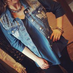 All new Linnea oversize Dolman T & Miss Me Denim Vest!