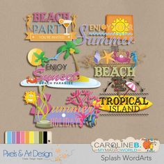 """#PixelsAndArtDesign - Splash WordArts Summer is here : 8 wordarts, matched with the series kits """"Splash"""", for your sea and swimming pool pages ! Have fun with water !       Buy Now http://www.pixelsandartdesign.com/store/index.php?main_page=product_info&products_id=1657"""