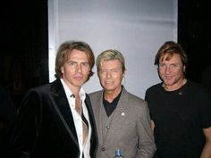 John Taylor, David Bowie, and Simon Le Bon Duran Duran with David Bowie. Talk about awesome.