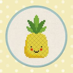 Pineapple. Happy Fruit PDF Cross Stitch Pattern by andwabisabi