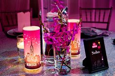 NYC Pink Bat Mitzvah Party Centerpieces {Planner: Perfect Party Orlando, Jennifer Werneth Photography} - mazelmoments.com
