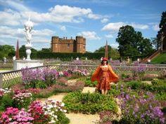 The restored Elizabethan Gardens at Kenilworth Castle in Kenilworth, Warwickshire.