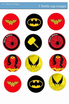 "Free Bottle Cap Images: Marvel and DC Comics Logo Free 1"" digital bottle cap images"