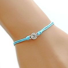 Dainty Rhinestone Adjustable Light Blue Waxed Cord Bracelet by Love♥ Arm Candy