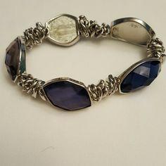 Host Pick 11/21 *Vintage* Large Gem Bracelet Silver with multi-colored dark gems Vintage Jewelry Bracelets