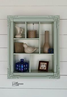 I love the color of this repurposed picture frame into a shadow box with cubbies. You can hang it vertically or horizontally. How clever.: A DIY Ornate Frame Shelf Picture Frame Display, Large Picture Frames, Picture Frame Crafts, Picture Frame Decorating Ideas, Decor Ideas, Painting Picture Frames, Vintage Picture Frames, 31 Ideas, Craft Ideas