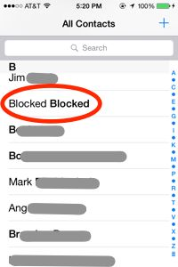 create blocked contact list on IPhone