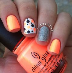Orange Nails with Dots and Glitter via