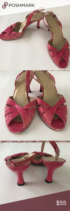 Bright Pink Stuart Weitzman Slingbacks These are awesome for summer! Bright pink snakeskin, with the signature Stuart Weitzman crossed front and sling backs.  In very good used condition, with excellent, clean foot beds and no heel damage.  Minor wear on toes (see pictures).  Size 7.5. Stuart Weitzman Shoes