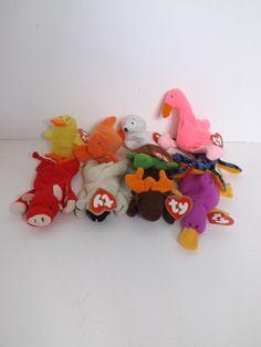 Vintage rare TY Teenie Beanie Babies full first mcdonalds set 1993 duck  bull fish lamb lizard moose 2f335b8c0d27