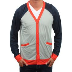 OXYMORON CLOTHING: Public Secret Cardigan Gray Red, at 58% off!