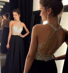 Prom Dresses Long, Backless prom dresses, sexy prom dress, black halter prom dress, Long prom dress, fashion prom dresses, cheap prom dress