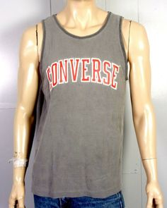 3d3c51868c5241 vtg 80s CONVERSE one star tag Faded Soft Thin Gray Tank Top Shirt spell out  L. Stl Vintage