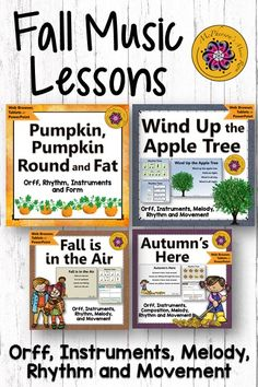 Elementary Music Lessons for Fall {Bundle of Orff Arrangements}! Fun activities and music lesson plans for fall. Your general music classes will love the engaging interactive visuals!
