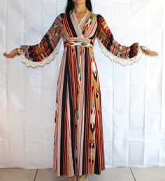 Vintage Ethnic Pattern Boho Festival Balloon Sleeve Maxi Dress with Lace Detail. $180.00, via Etsy.